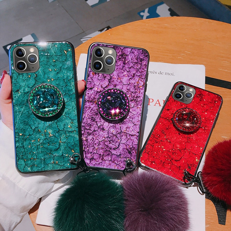 Luxury Diamond Cute Hair Ball Phone Case 4