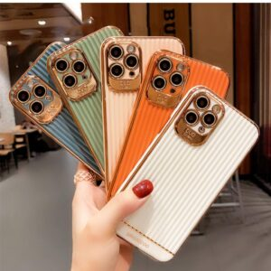 Luxury Stripe Electroplated Gold Plated Phone Cases for iPhone 7 8 Plus XS XR X 11 1